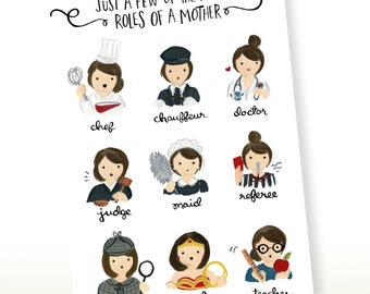 Just A Few of the Many Roles of a Mom Greeting Card, Mother's Day Card, Card for Mom, Mothers Day Card, Gifts for Mom, Card for Mum