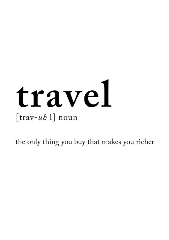 Travel definition poster Travel posters Wall decor Wall art