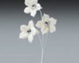 Dimante Flower, 3/4- White Pre-Made Ready To Use Cake / Cupcake Gum Paste Decorations