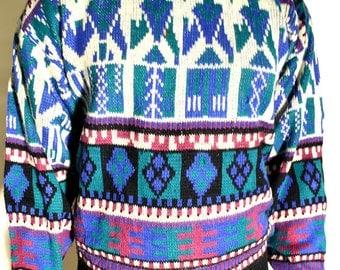 vintage sweater / vintage 80s sweater / vintage cosby sweater / size L