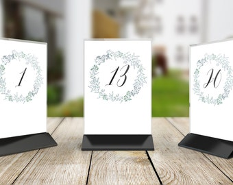 Printable Wedding Table Number Signs, Set of 20, DIY Table Numbers - 1 to 20 - Blue Green Wreath