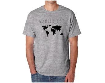 Wanderlust Shirt // Mens tshirt - Graphic tee - Mens shirt - Mens gift - Wanderlust tshirt, Adventure, Matching shirts, Travel shirt, Map