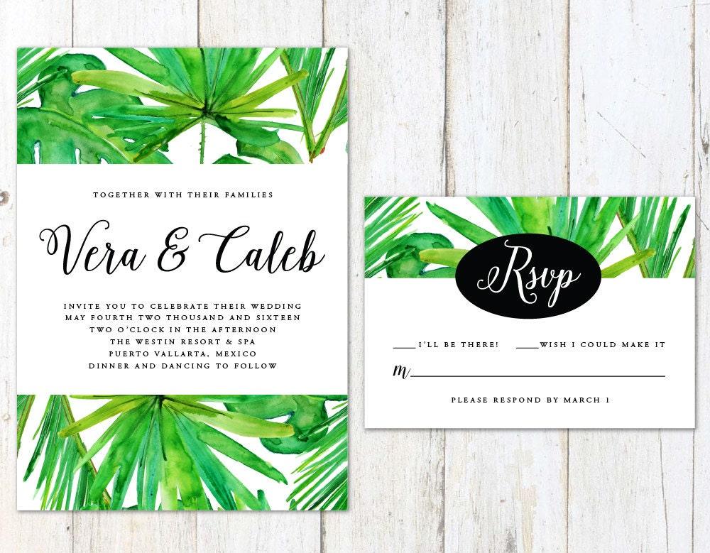 Tropical Wedding Invitations: Tropical Wedding Invitation Palm Tree Wedding Invitation