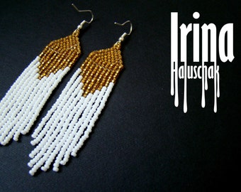 Beaded earrings, seed bead earrings, modern earrings, boho earrings, fringe earrings, beadwork jewelry, white and gold, tribal earrings