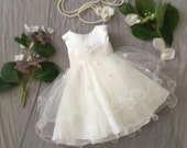 Soft White Lace and Tulle Baby Girl Dress, Baptism Special Ocassion First Birthday Dress, Baby Boudoir Photoshoot, Fancy Frilly Girly Tulle