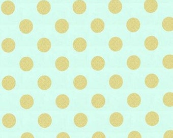 Mint Gold Baby Bedding - Crib Skirt - Baby Blanket - Minky - Changing Pad Cover - Gold Polka Dots - Bumper Pads - Burp Cloths - Nursery