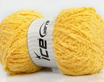 Puffy Microfiber Light Yellow Ice Yarn, Fiber Art Yarn, Fuzzy Soft Yarn, Puffy Yarn, Bulky Velvety Yarn, One Skein 180 yards, 42140