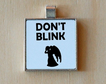 Weeping Angel pendant, whovian, don't blink, silver pendant, statement jewelry, novelty necklace, sci fi necklace, the doctor, geekery