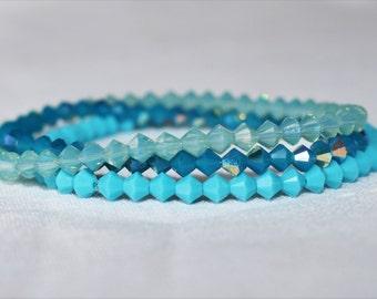 Swarovski Crystal Bracelet - Bridesmaid Bracelet - Something Blue - Jewelry Gift for Her - Bridesmaid Gift - Wedding Jewelry