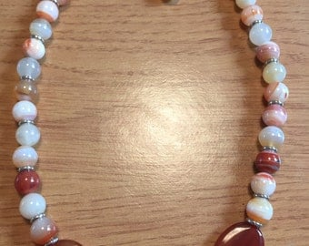 Carnelion gemstone beaded necklace