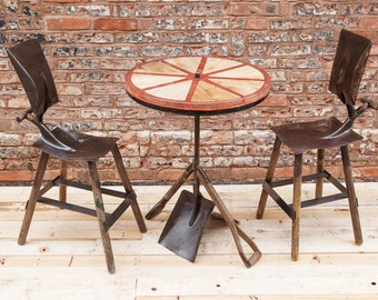 Reclaimed shovel table and chairs
