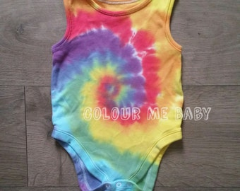 Sleeveless rainbow swirl tie dye baby vest bodysuit