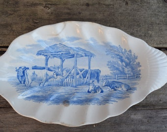 Vintage Blue Transferware/Ironstone Relish Serving Dish with Cows
