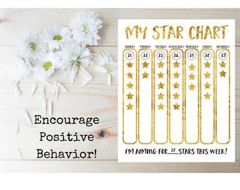 Kid's Star Chart - Printable Kid's Star Chart - Behavior Chart For Children - Chore Chart - Printable Reward Chart - Children's Printable