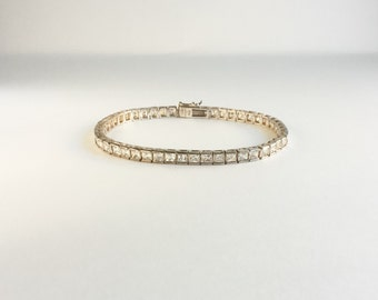 Vintage Sterling and Crystal Tennis Bracelet