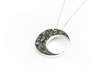 Moon pyrite necklace > Sterling Silver