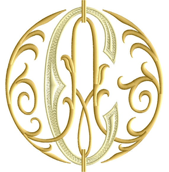 A and c two letter monogram machine embroidery design
