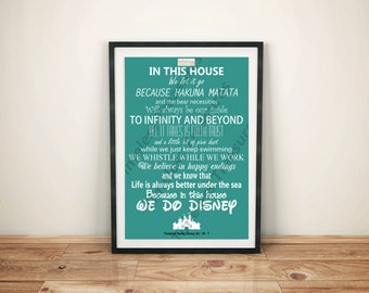 Disney (A) - In This House... We Do Disney (White on Teal)