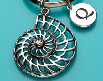 Seashell Keychain, Seashell Key Ring, Spiral Shell, Sea Creature, Initial Keychain, Personalized Keychain, Custom Keychain, 676