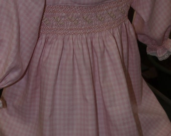 Smocked Pink & White Check Winter Cotton Twill Baby Dress and Bonnet - Size 6, 12, 18 or 24 months