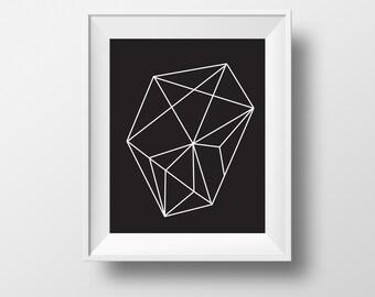 black geometric print art, abstract print, geometric artwork, black and white Geometric art print, digital print, Instant Download,