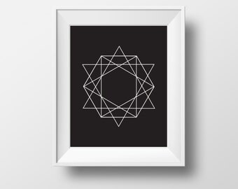 Geometric Triangle Print, Black And White Print Art, Modern Art Print, Black And White print,Geometric Print Art