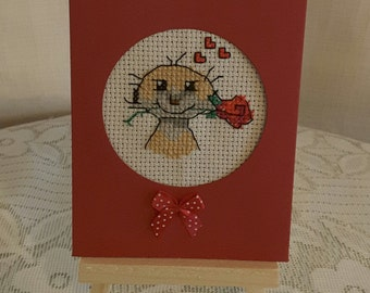 cross stitched meerkat card
