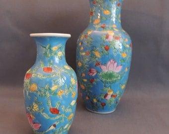 Nice Asian vase pair - enamel glaze