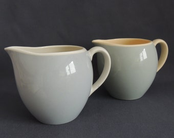 two milk jugs - pitchers for milk, cocoa, juice... 50s / 60s... pastel blue (baby blue) / pastel grey