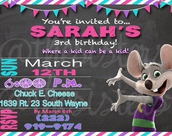 Girl Chuck E Cheese invitation