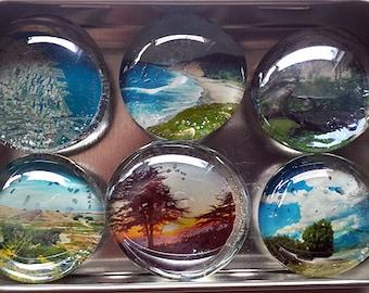 Handmade Glass Marble Magnets - original photographs of landscapes