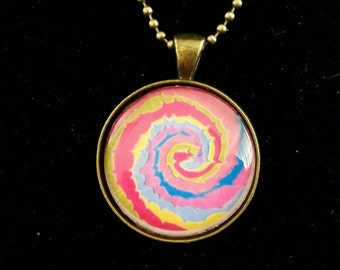 Bright colourful twirl pendant necklace