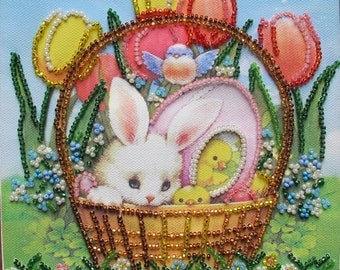 "Embroidery ""Easter joy"" 6""x6""on a natural canvas art, Czech and Japanese beads, hand-made, the Easter Bunny"