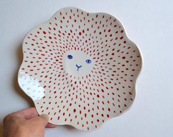 Animal Face Plate in Red White and Blue With Scalloped Edge