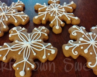 Christmas/Winter Snowflakes Decorated Gingerbread Cookies