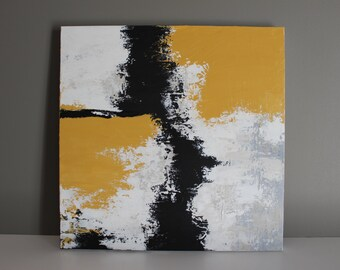 "Abstract Painting - Gold Black & White - Original Painting - 20X20"" Gallery Wrapped Canvas"