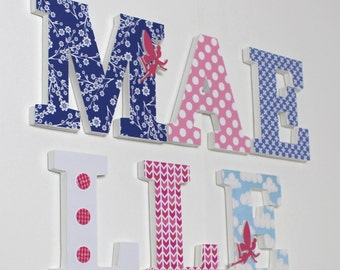 wooden letters baby name-wooden name letters - name pink white blue  - name with fairy - custom letters- mylittledecor