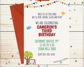 Park Birthday Invitation, Kids Invitation, Park Invitation, Playground Invitation, Boy Girl Invitation, 1st Birthday, 2nd Birthday