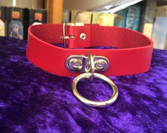 Leather choker collar necklace with o ring