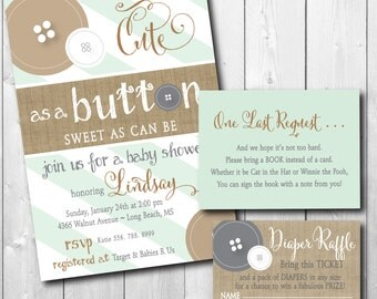 Cute as a Button Baby Shower Invitation printable/Digital File/gender neutral, girl, boy shower, book request, raffle/Wording can be changed