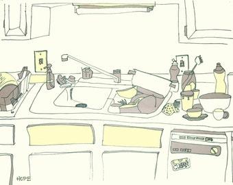 Original Illustration Art Print - Kitchen Sink