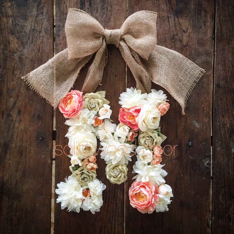 custom floral letter flower initial door hanger by