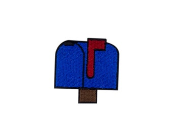 Closed Mailbox Raised Flag Emoji Embroidered Iron On Patch - FREE SHIPPING