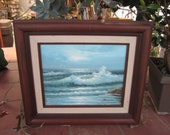 """Oil Painting """"Rough Sea"""" Stevens Vintage 1960's Certificate of Authenticity Wood Framed Wall Home Decor Collectible - HD051"""