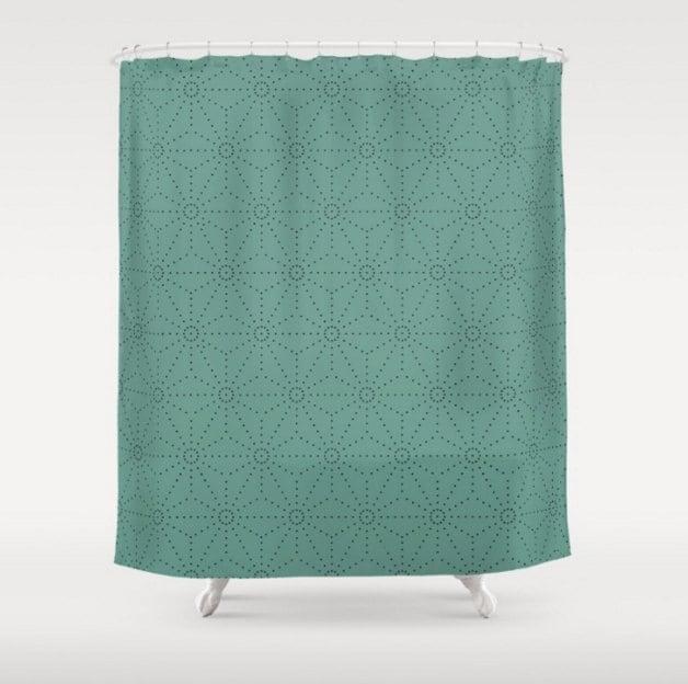 Mid Century Modern Shower Curtain Light Teal Shower Curtain