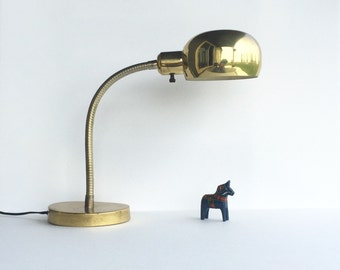 Vintage Industrial Brass Gooseneck Lamp, Mid Century Brass Gooseneck Lamp