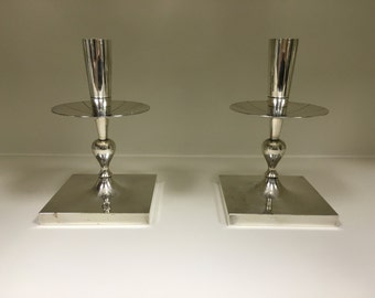 TOMMI PARZINGER CANDLESTICKS, silverplate for Dorlyn Silversmiths