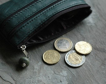 Real Leather coin purse with three zippered pockets - A beautifully soft small pouch wallet - fits credit cards - Green or Soft Grey