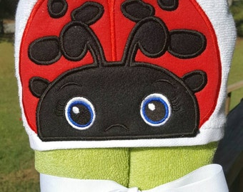 Lady Bug Hooded Towel with FREE EMBROIDERED NAME