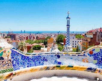 Park Güell, Barcelona, Spain, Gaudí, Colorful, Tiles, Architecture, Mediterranean, Photography, Prints, Wall Art, Fine Art Prints